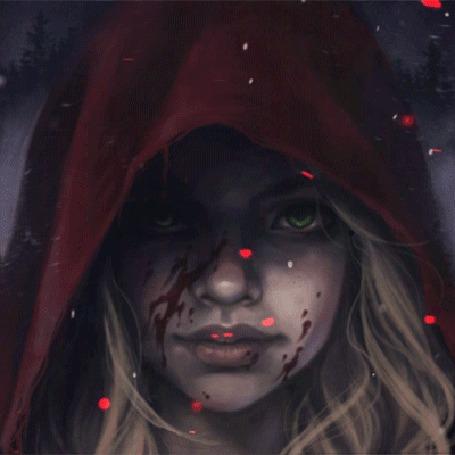 Анимация Кровь на лице у красной шапочки, by bewareitbites