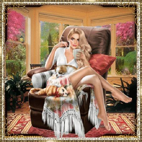 Анимация Девушка блондинка с длинными волосами сидит в комнате на кресле, в руке чашка, рядом лежит кот