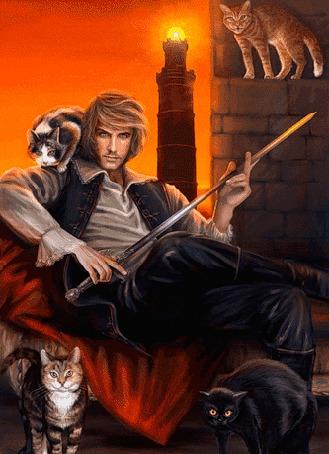 Анимация Мужчина с кинжалом в руке сидит в кресле в окружение кошек