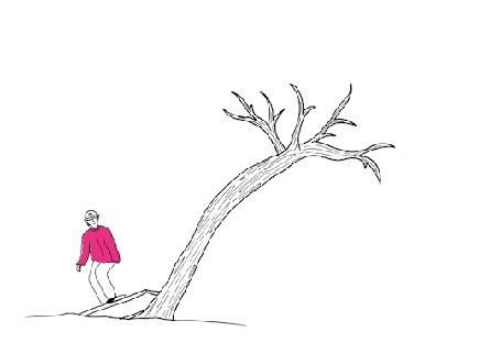 Анимация Парень на скейтборде катается, заезжая на дерево