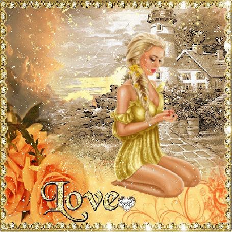 Анимация Девушка блондинка сидит на коленях на фоне дома, слева оранжевые розы и надпись LOVE
