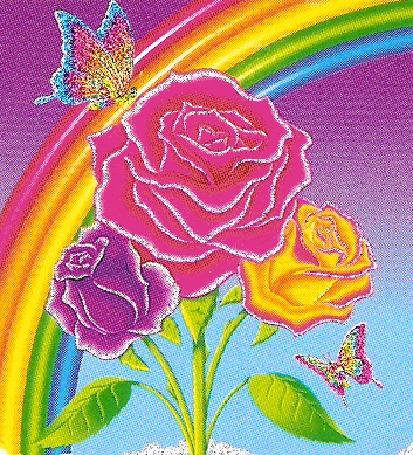 Анимация Розовая, красная и фиолетовая розы с летающими бабочками над ними