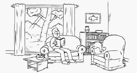 Анимация Внезапный приступ бешенства у кота, который проснулся, и начал носиться по дому, сбивая и круша все на своем пути, в то время, как хозяин читает книгу, мультфильм Simons Cat / Кот Саймона