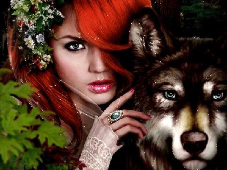 Анимация Рыжеволосая девушка с цветами в волосах с волком
