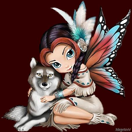 Анимация Девушка эльф с крыльями бабочки и перьями в волосах обнимет волка