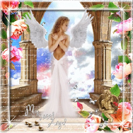 Анимация Девушка-ангел стоит на фоне неба, цветов и колонн. Внизу надпись -MY SWEET ANGEL (© ineta), добавлено: 05.05.2016 20:07