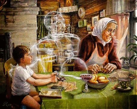 Анимация Мать старушка сидит с правнуком, вспоминая погибшего сына, призрак которого рядом за столом