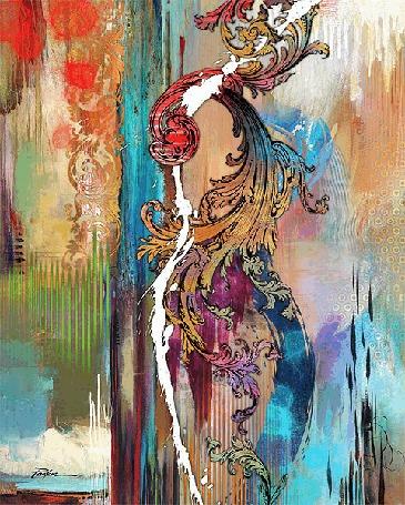 Анимация Девушка стоит спиной, на которой меняются цветные узоры. Xудожник Tim Parker
