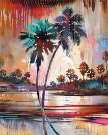 Анимация Силует пеликана который сменяется на пальмы. Xудожник Tim Parker
