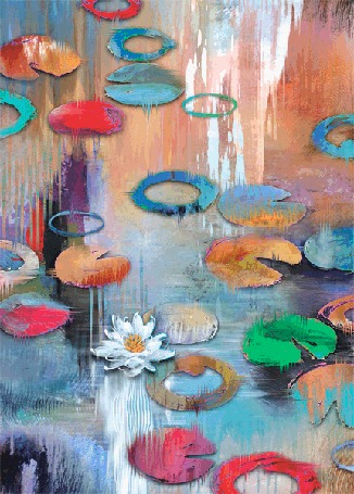 Анимация Рыбы плавают в пруду и лилии. Xудожник Tim Parker
