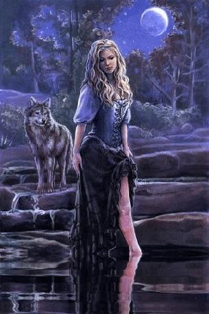 Анимация Девушка стоит под луной в лесной речушке около волка