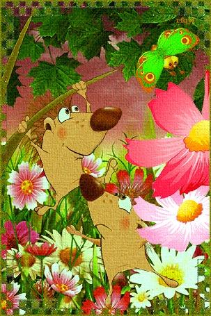 Анимация Ёжики прыгают на фоне цветов, летает бабочка, падает дождь