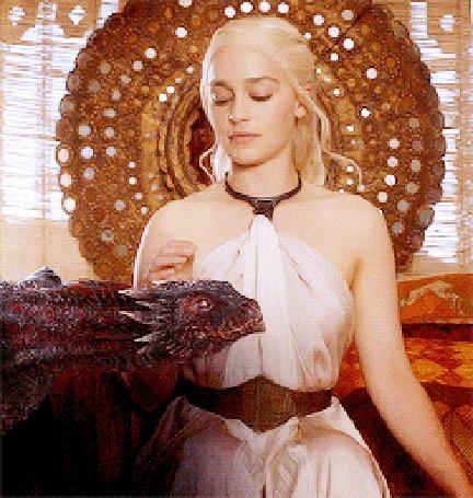 Анимация Эмилия Кларк / Emilia Clarke в роли Дэйнерис Таргариен / Daenerys Targaryen из сериала Игра престолов / Game of Thrones