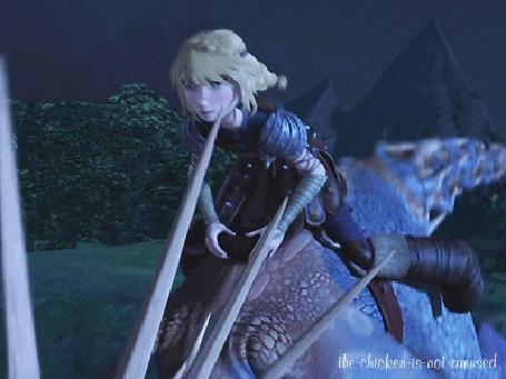Анимация Астрид летит на своей драконихе Громгильде, мультфильм Как приручить дракона 2 / How Train Your Dragon 2