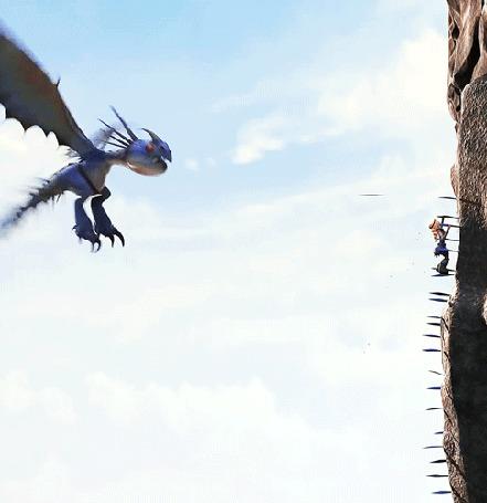 Анимация Громгильда / Stormfly выпускает шипы, помогая Астрид забраться по отвесной скале, мультфильм Как приручить дракона 2 / How Train Your Dragon 2