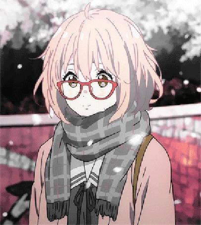 Анимация Мирай Курияма / Mirai Kuriyama из аниме По ту сторону границы / Kyoukai no Kanata под падающими лепестками сакуры
