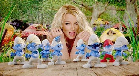 Анимация Фрагмент видеоклипа Бритни Спирс / Britney Spears / на песню Ooh La La, с танцующими смурфиками