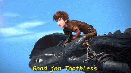 Анимация Иккинг летит в небе на драконе Беззубике (Good job Toothless / Молодчина, Беззубик), мультфильм Как приручить дракона 2 / How Train Your Dragon 2