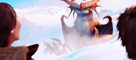 Анимация Грозокрыл / Cloudjumper, дракон Валки, матери Иккинга обсыпает снегом Беззубика, мультфильм Как приручить дракона 2 / How Train Your Dragon 2