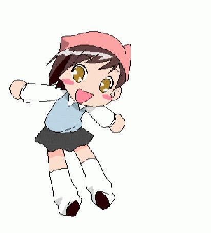 Анимация Танцующая девочка на белом фоне
