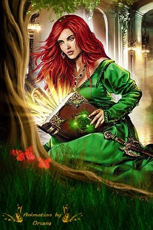 Анимация Рыжеволосая девушка в зеленом платье держит магическую книгу в руках, by Orsana