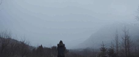 Анимация Кит пролетает над стоящей девушкой