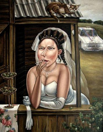 Анимация Невеста курит нервно возле избы