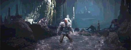 Анимация Воин отбивается от напавших на него оборотней, игра Ведьмак 3 / Witcher 3