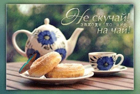 Анимация На столе стоит чайник и чашка на блюдце, на печенюшках сидит бабочка, (Не скучай! Заходи ко мне на чай! )
