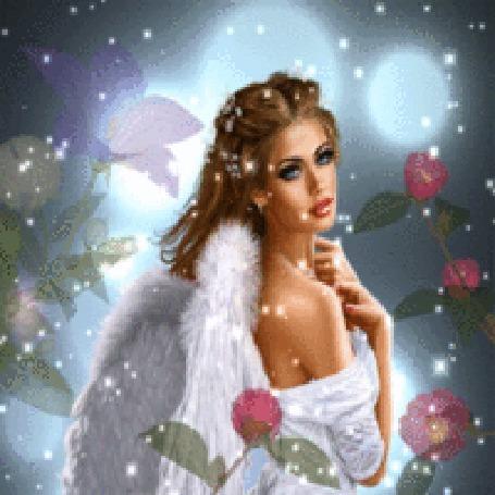 Анимация Ангел с цветами