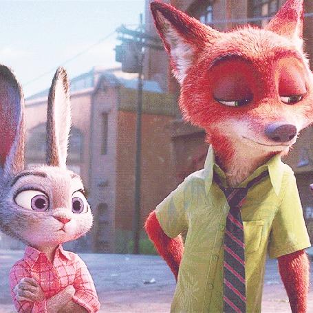 Анимация Крольчиха Джуди Хопс / Judy Hopps и лис Ник Уайлд обмениваются взглядами (м / ф Зверополис / Zootopia)