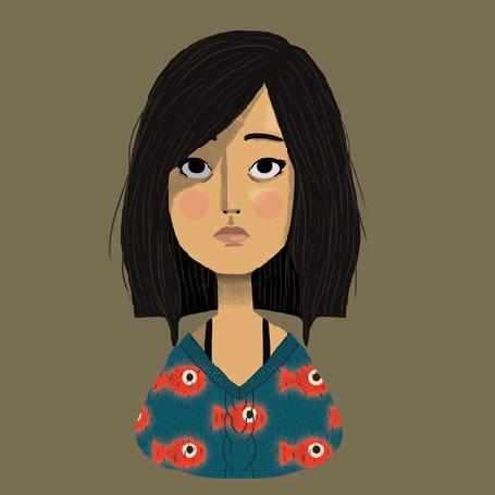 Анимация Темноволосая девушка в синей кофточке с плывущими рыбками