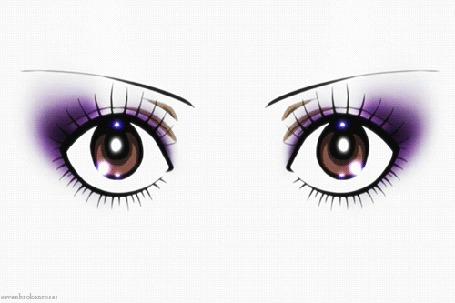 Анимация Красивые женские глаза на белом фоне