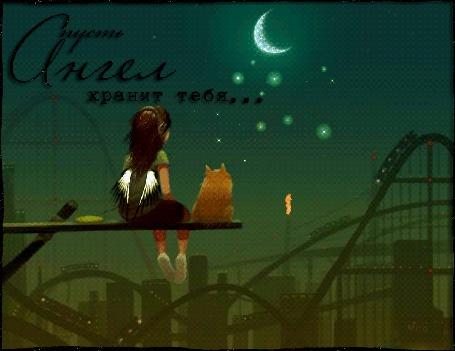 Анимация Девочка с крылышками и кот смотрят на ночное небо (Пусть ангел хранит тебя)