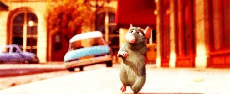 Анимация Крысенок Реми шагает на задних лапах по улицам большого города, мультфильм Рататуй