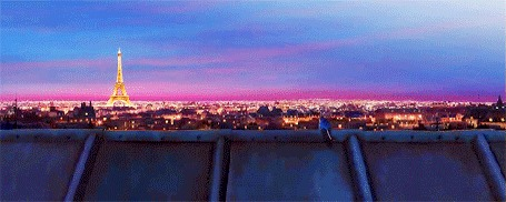 Анимация Крысенок Реми смотрит с крыши на Париж, мультфильм Рататуй