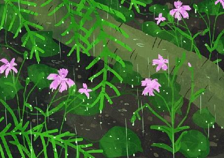 Анимация Девочка с зонтом под дождем сидит перед белочкой, by Manadhiel