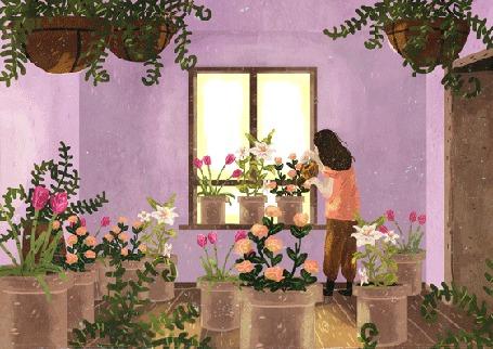 Анимация Девушка поливает цветы в горшках, by Manadhiel