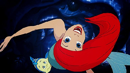 Анимация Ariel and Flounder in The Little Mermaid / Ариэль и Флаундер из мультфильма Русалочка
