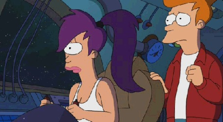 Анимация Лила целуется с Фреем в космическом корабле, мультфильм Футурама