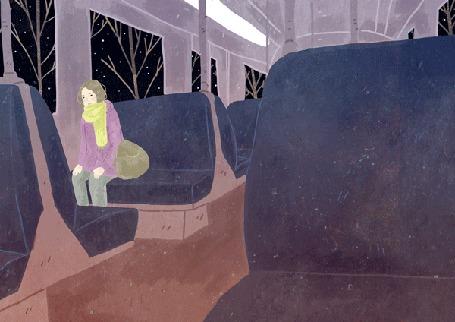 Анимация Девушка сидит в вагоне, за окном мелькают деревья, by Manadhiel