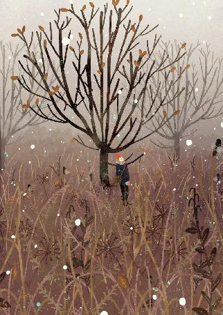 Анимация Девушка стоит у дерева под пажающим снегом, by Manadhiel