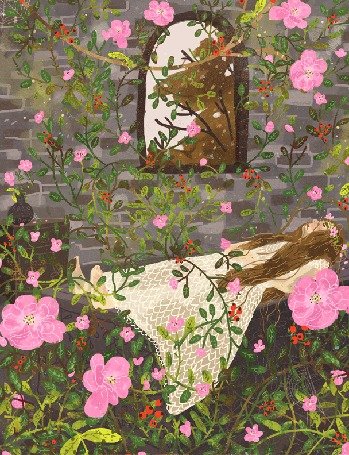 Анимация Спящая красавица под падающими лепестками, by Manadhiel