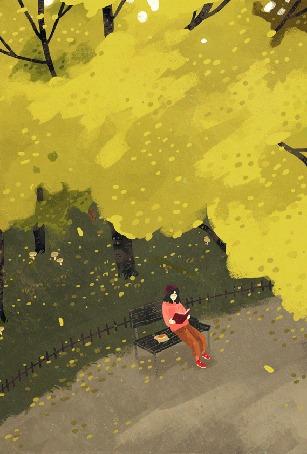 Анимация Девушка сидит с книгой на лавочке под падающими осенними листьями, by Manadhiel