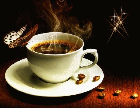 Анимация Порхающая бабочка сидит на чашке горячего кофе