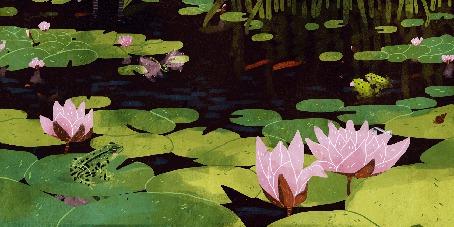 Анимация Порхающая бабочка и лягушка сидит на листе в озере, by Manadhiel (© zmeiy), добавлено: 01.06.2016 10:42