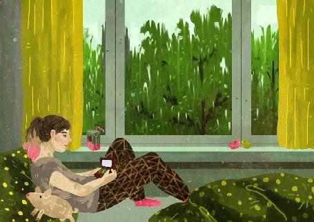 Анимация Девочка сидит у окна, за которым идет дождь, by Manadhiel