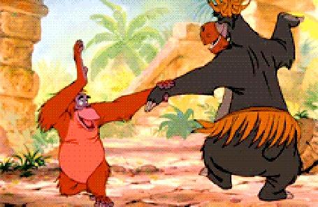Анимация Медведь Балу и орангутан Король Луи весело приплясывают, мультфильм Книга Джунглей
