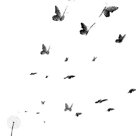 Анимация Пушинки одуванчика превращаются в бабочек