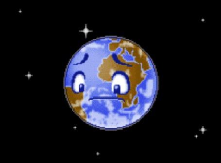 Анимация Вокруг Земли кружится в космосе спутник